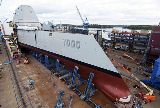 At the Bat Iron Works shipyard the Zumwalt class lead destroyer was launched