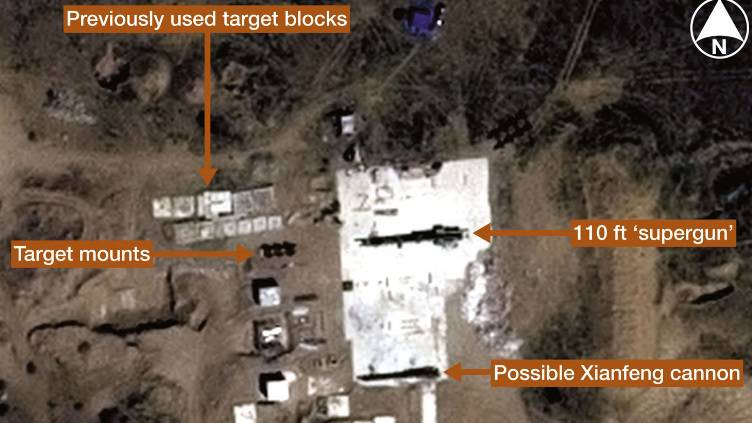 """Published satellite photos of the mysterious Chinese """"superguns"""""""