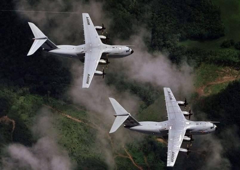Aviones de transporte militar Airbus A400M.