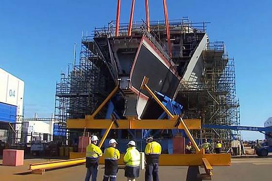 호주 해군의 두 번째 호바트 급 방공포 구축함의 용골을 내려 놓음