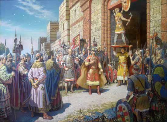 इतिहास में शानदार मील के पत्थर। कॉन्स्टेंटिनोपल के द्वार पर ढाल