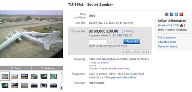 Une société ukrainienne vend un bombardier stratégique sur eBay