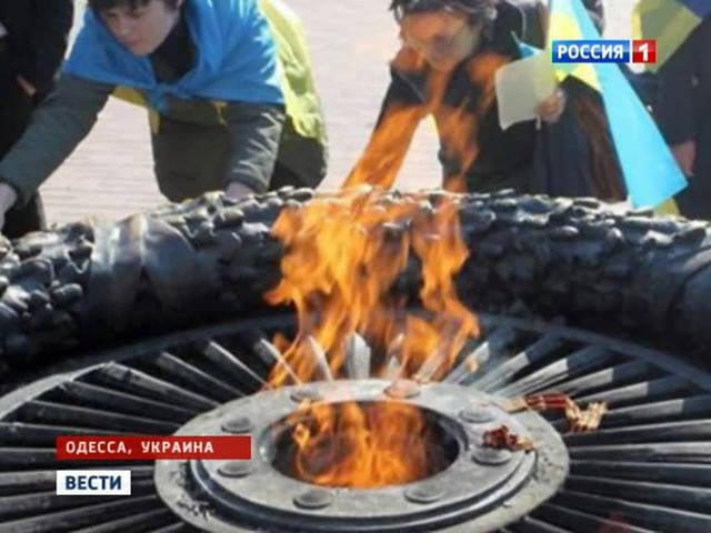 Ally Klitschko a brûlé des rubans de saint Georges dans la flamme éternelle
