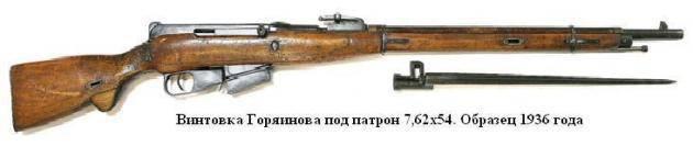 Experienced rifles of Goryainov and Mamontov (USSR. 1936 year)