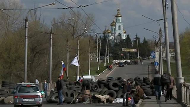 Slavyansk lutou contra sabotadores desconhecidos