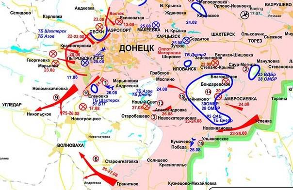 Reports from the militia of New Russia for 28 August 2014 of the year