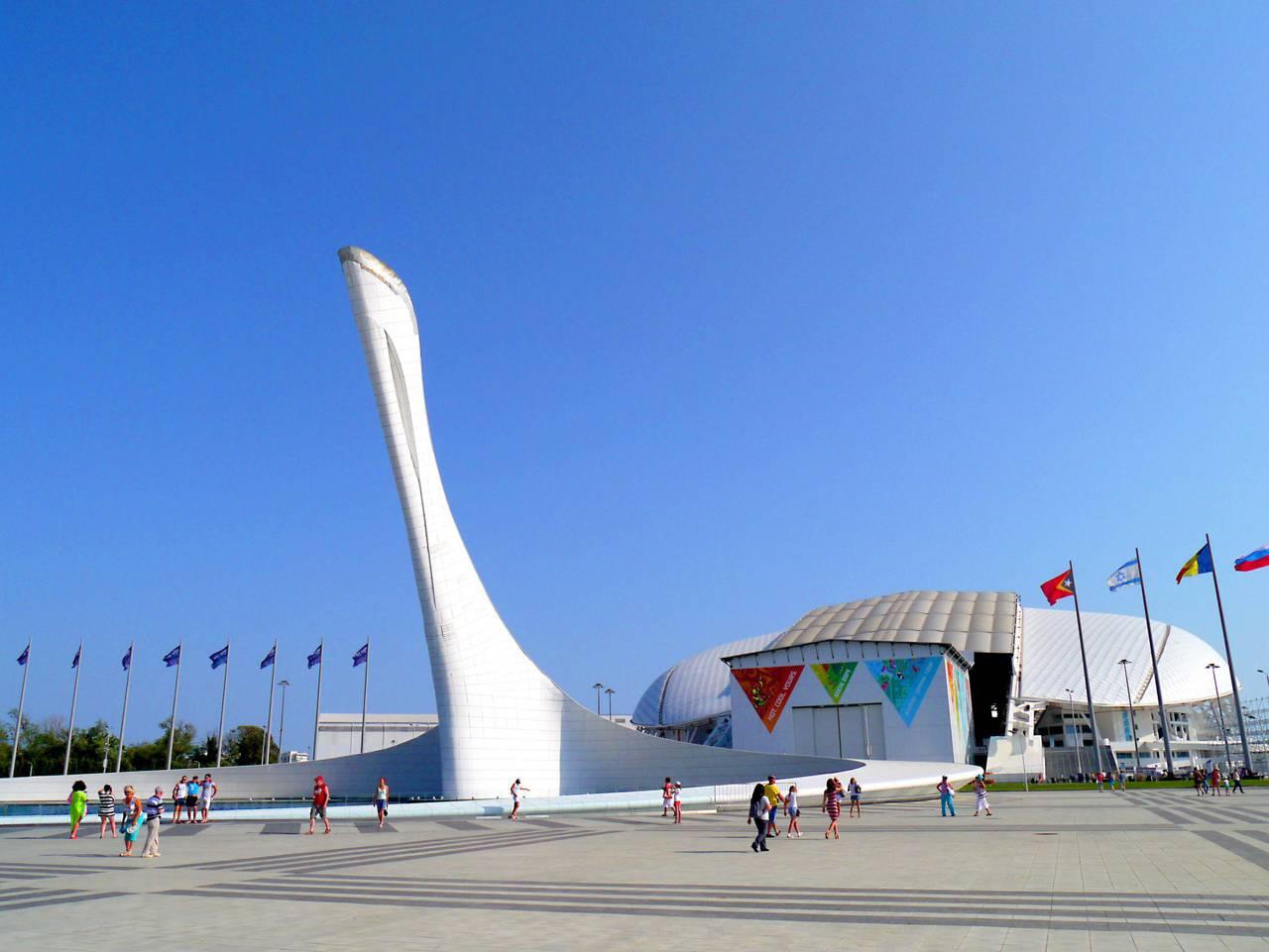 """Stade """"Fisht"""" et la flamme olympique"""