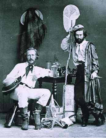 Ernst Haeckel (solda) Kanarya Adaları'ndaki asistanı Miklouho-Maclay ile birlikte. Yılın Aralık 1866'i