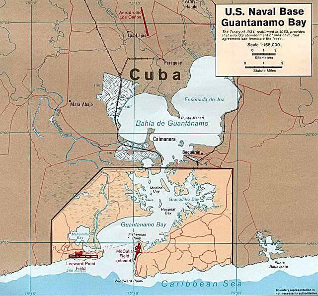 Base navale americana di Guantanamo a Cuba