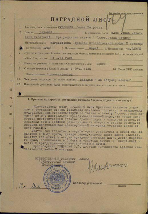 वीमेन गुडज़ेंको की सेना की नोटबुक और डायरी