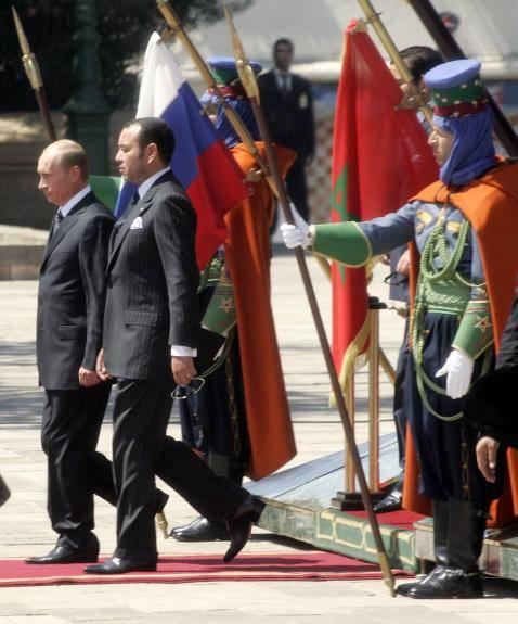 रूस के राष्ट्रपति वी.वी. पुतिन और कैसाब्लांका में मोरक्को के राजा मोहम्मद VI