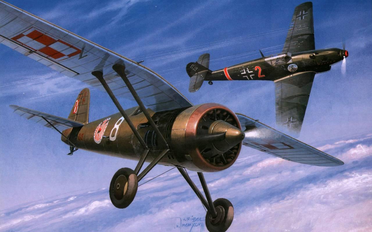 Обои Биплан, битва, Самолёт. Авиация foto 16
