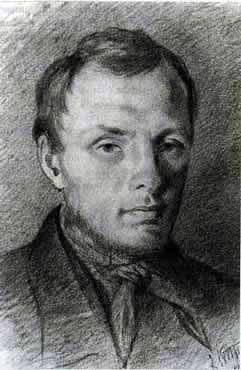 Dostoevskij negli anni 26, disegno K. Trutovsky, matita italiana, carta, (1847)