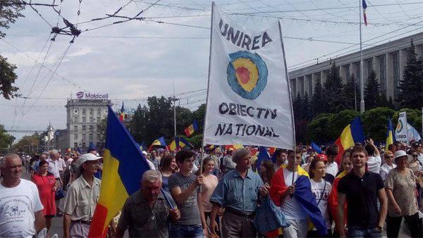 In Chisinau findet eine Rallye für Moldawien statt, die sich Rumänien anschließt