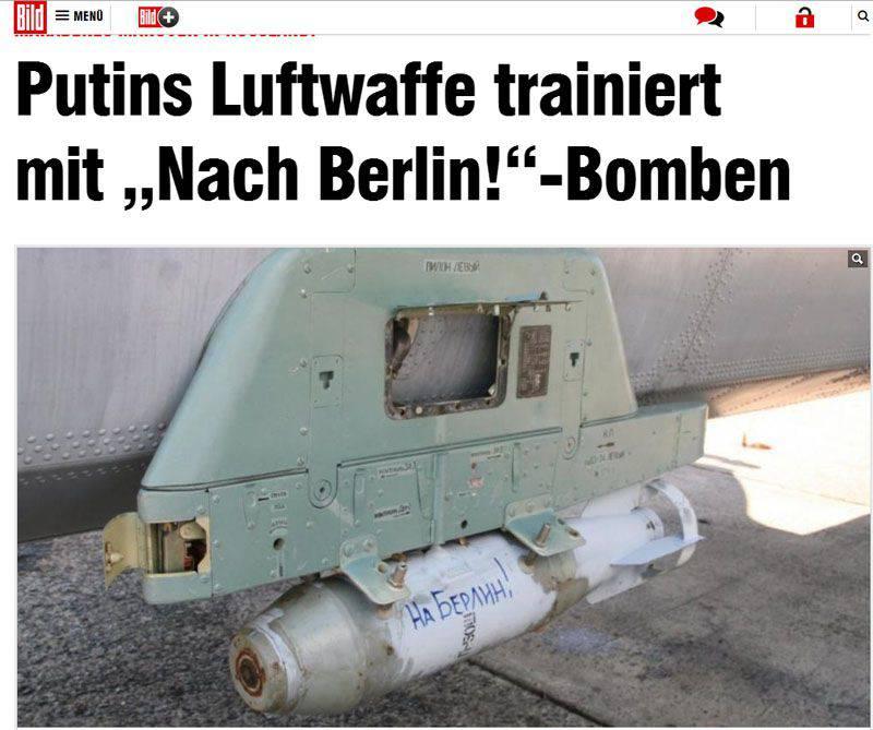 """Un journaliste allemand a parlé aux lecteurs de bombes aériennes russes avec les mots """"To Berlin!"""" et """"Pour Staline!"""""""