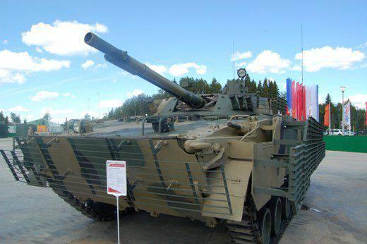 """국내 열 화상 장치 """"Sodema""""가 장착 된 러시아 군대 용 BMP-3는 최고의 국제 표준을 충족합니다."""