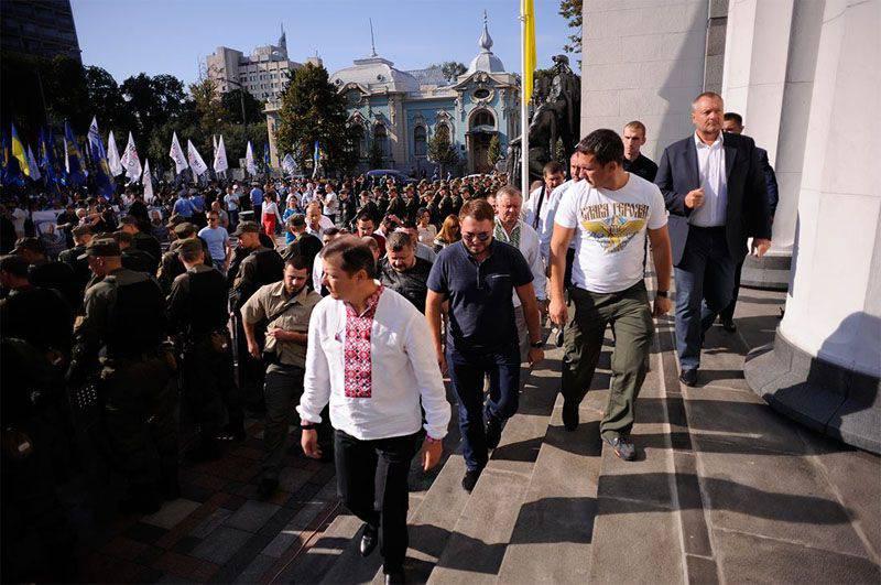 I radicali e gli estremisti protestano contro gli emendamenti costituzionali a Kiev