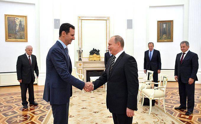 弗拉基米尔·普京和巴沙尔·阿萨德在克里姆林宫的谈判