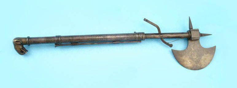 인디언 전투 도끼 - 스틸레토 - 위크 총 중반 - 세기 18
