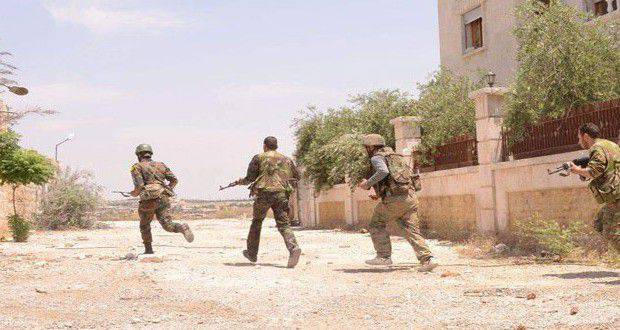 Syrian armed forces conduct artillery preparation before the attack on Idlib