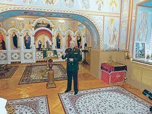Chief of the Minsk Suvorov Military School, Major General Viktor Lisovsky in the school temple