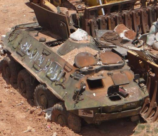 Russian armored personnel carriers BTR-80 and BTR-82 on the Syrian front