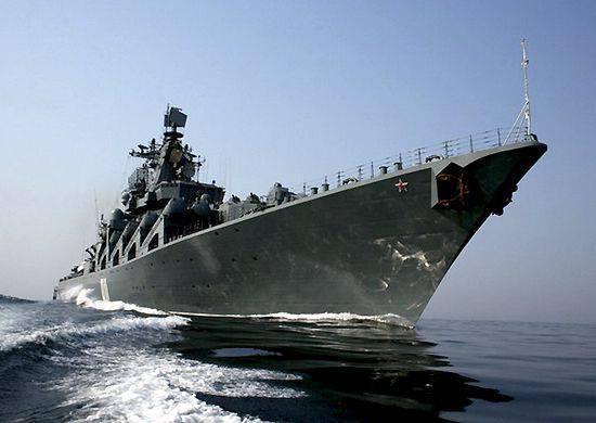 Varyag 미사일 순양함이 이끄는 러시아 태평양 함대 함선이 인도양에 진입