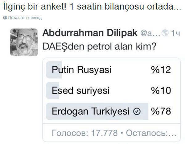Presidente de turco de la comitiva de punción. Los usuarios de Twitter están seguros de que son Turquía y Erdogan quienes venden petróleo de DAISH.