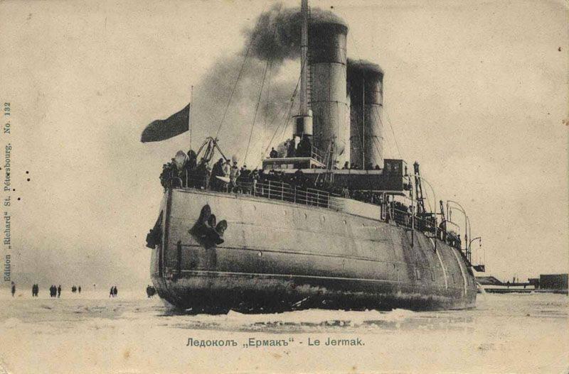 """Ermak"" - 世界上第一艘北极破冰船。 到马卡罗夫海军上将的生日"