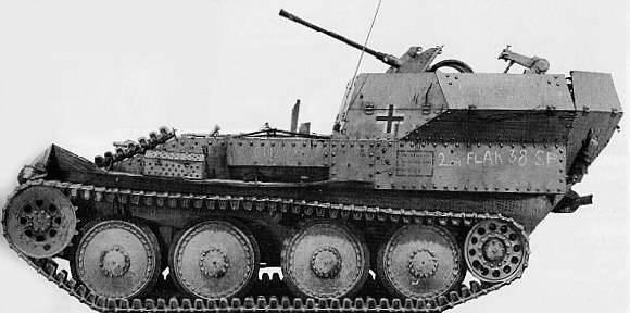 Anti-aircraft self-propelled Flakpanzer 38 (t) / Panzerkampfwagen 38 (t) für 2 cm FlaK 38 (Germany)