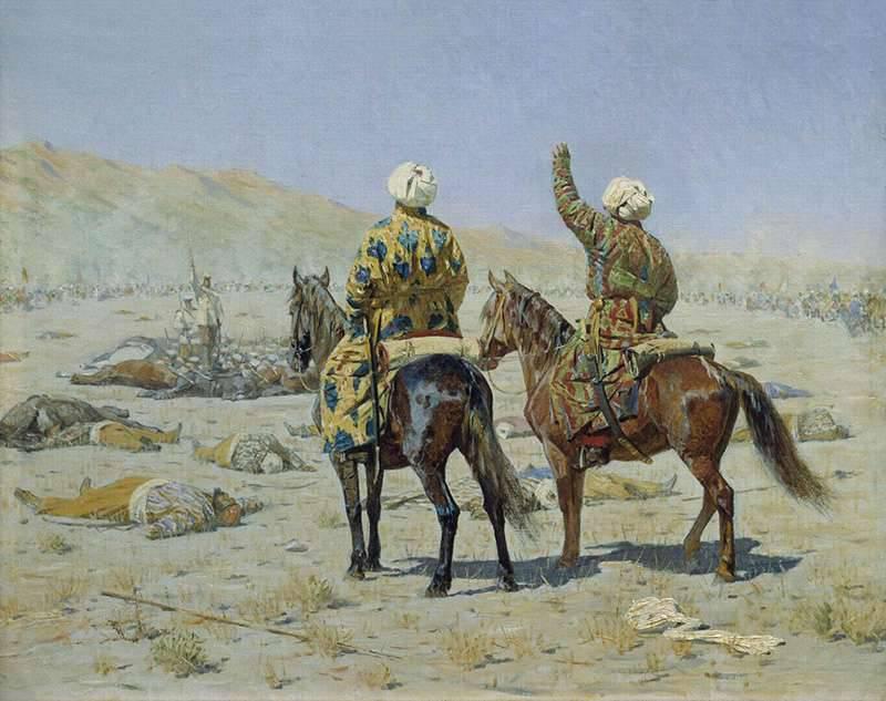Dur labeur de V.V. Vereshchagin, peintre de bataille russe