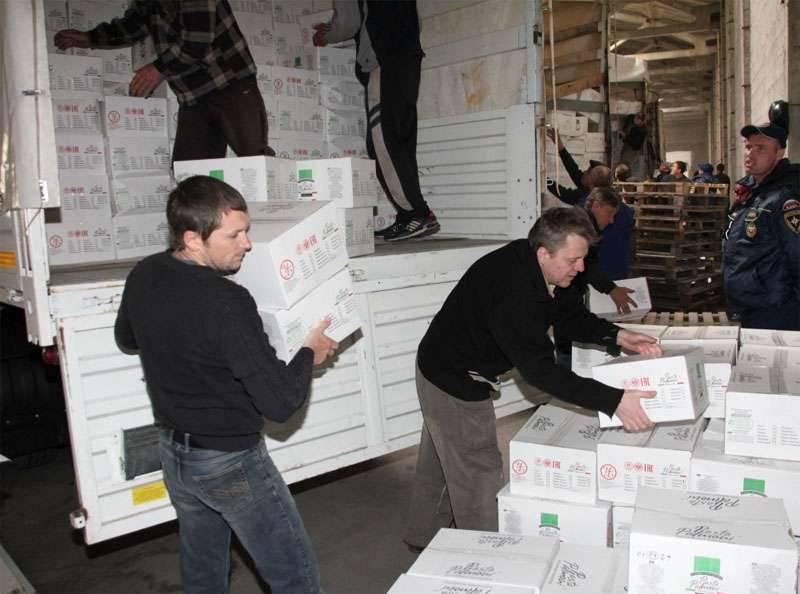 Columna EMERCOM entregada al DPR y al LPR sobre 1200 toneladas de ayuda humanitaria