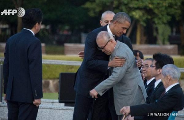 """Obama anunciou em Hiroshima que os Estados Unidos estão """"determinados a criar um mundo no qual as armas nucleares não sejam necessárias""""."""