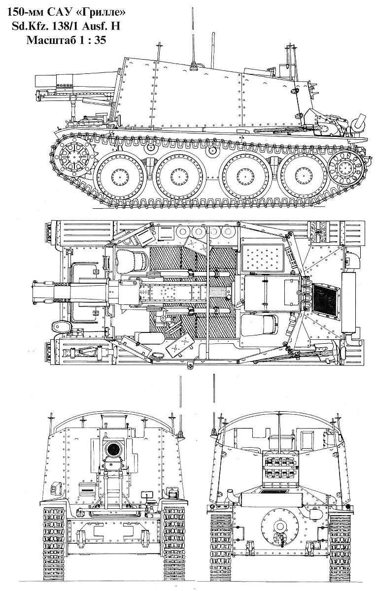 自走砲マウント15 cm sIG 33(SF)auf Pz.Kpfw.38(t)Ausf.НGrille(ドイツ)