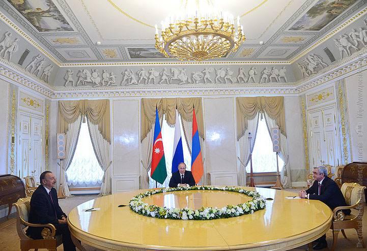 Em São Petersburgo, os presidentes do Azerbaijão e da Armênia com a mediação de Vladimir Putin discutem a questão da resolução do conflito em Nagorno-Karabakh