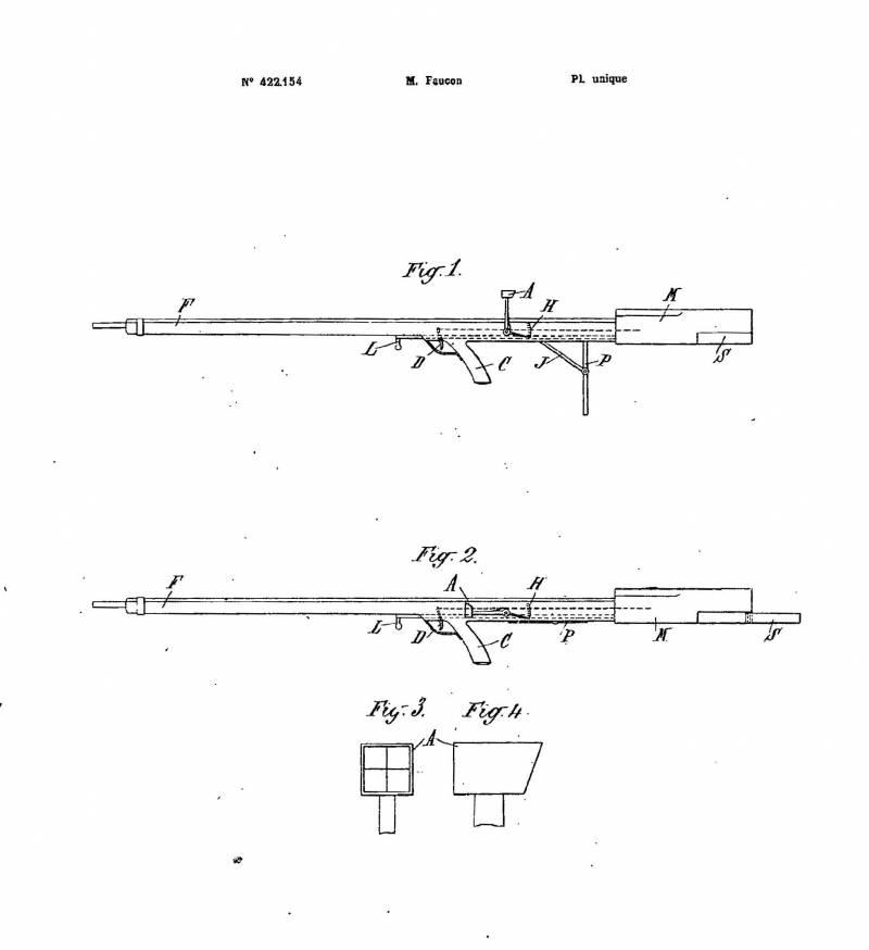 Проект самозарядной винтовки А.-Ф. Фокона Fusil Équilibré (Франция)