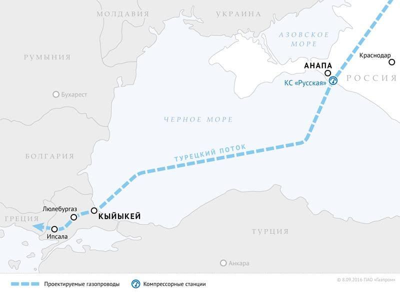 """""""Газпром"""" получил первое разрешение от Турции по строительству """"Турецкого потока"""""""