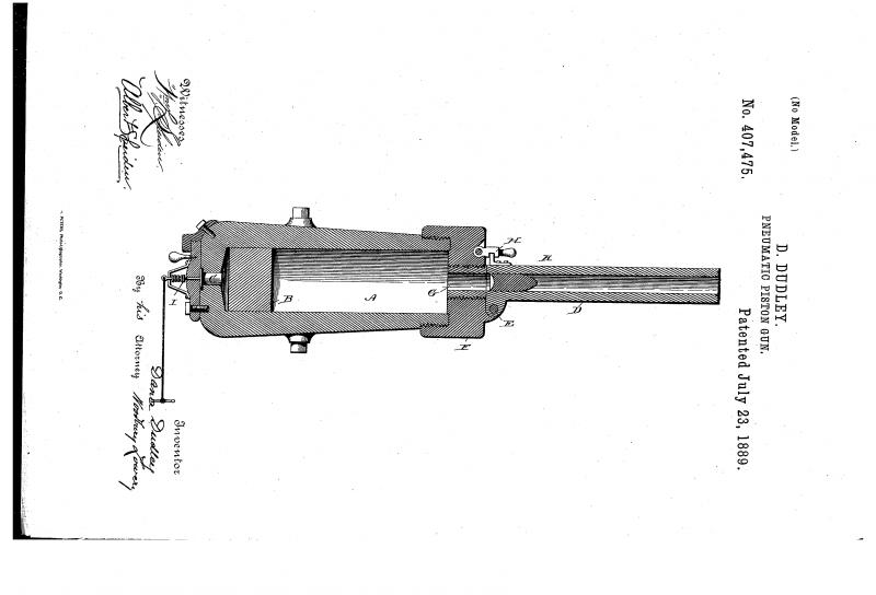 Проект пневматической поршневой пушки Д. Дадли (США)