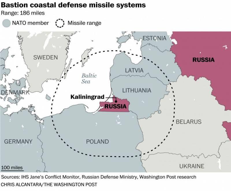 Washington Post показала зоны поражения российских ракет, размещенных в Калининградской области