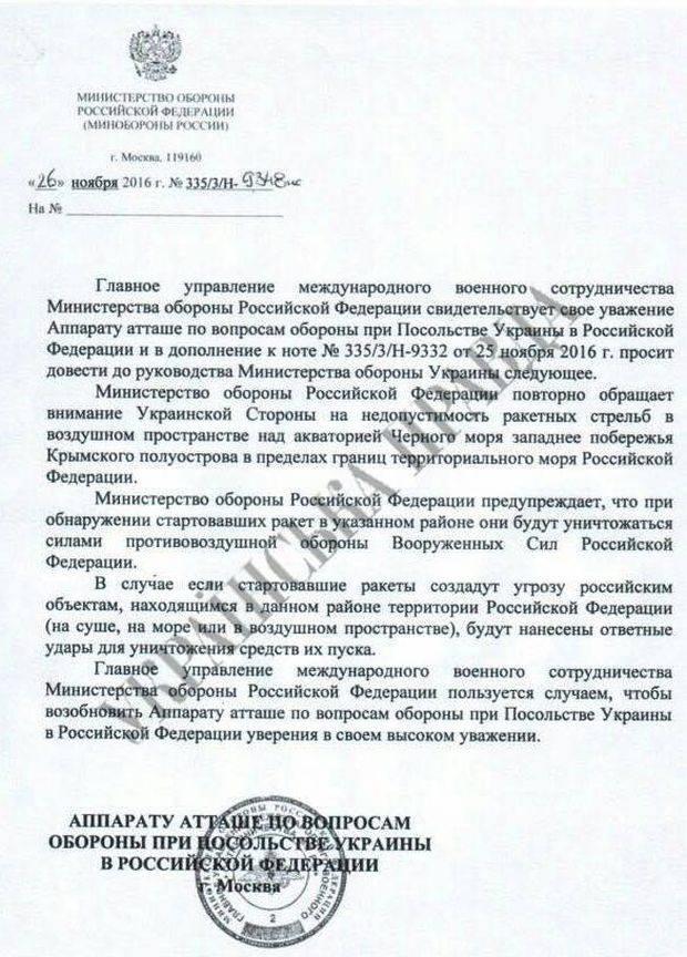 Киев заявил, что Россия угрожает Украине в связи с проведением ракетных стрельб ВСУ близ Крыма