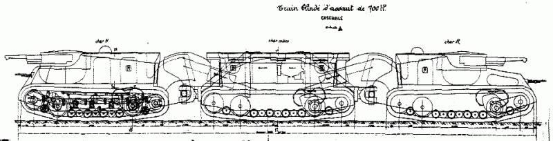 Проекты сочлененных танков Boirault Train Blind (Франция)