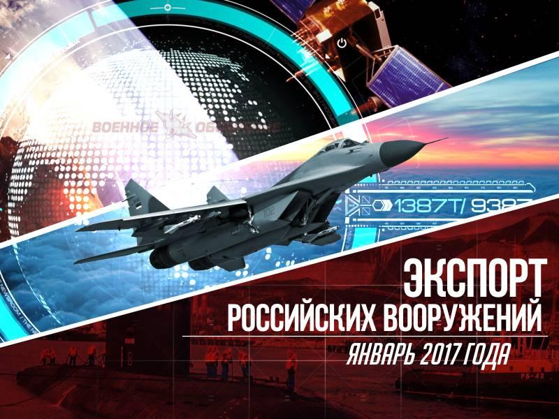 Exportações de armas russas. Janeiro 2017 do ano