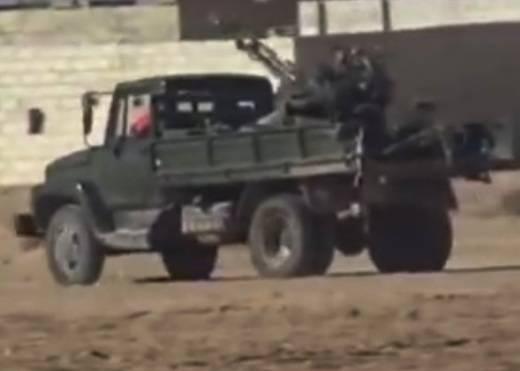 Siria GAZ-3307 convertida en una máquina de soporte de fuego
