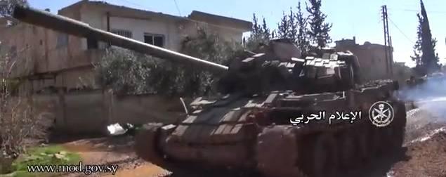 """Siria T-55МВ gracias a los """"Contactos"""" rusos equipados con protección de forraje"""
