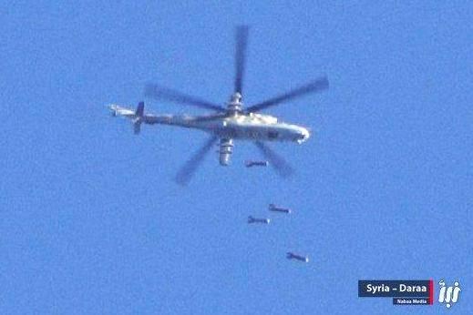 Бомбардировка с сирийского вертолета Ми-25