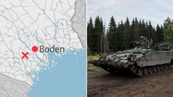 Durante os exercícios das forças armadas da Suécia, um carro blindado ficou sob o gelo do lago