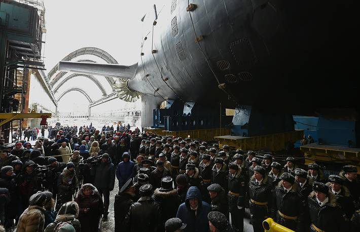 The nuclear submarine Kazan is withdrawn from the boathouse and launched