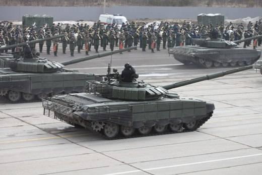Новый танк Т-72Б3 засветился нарепетиции парада Победы