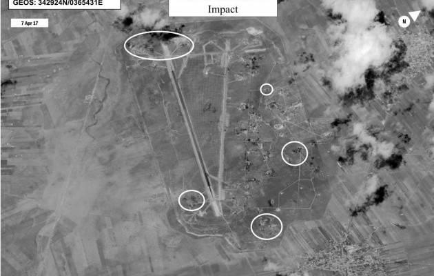 Опубликованы спутниковые фото последствий ракетного удара США по сирийской авиабазе