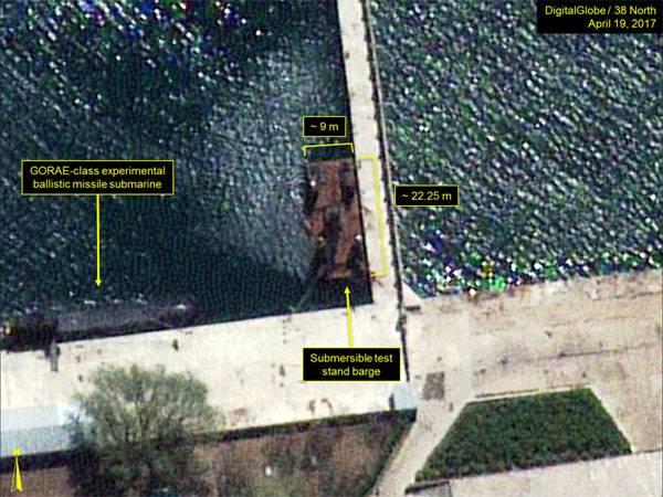 В КНДР замечена морская платформа для испытания баллистических ракет